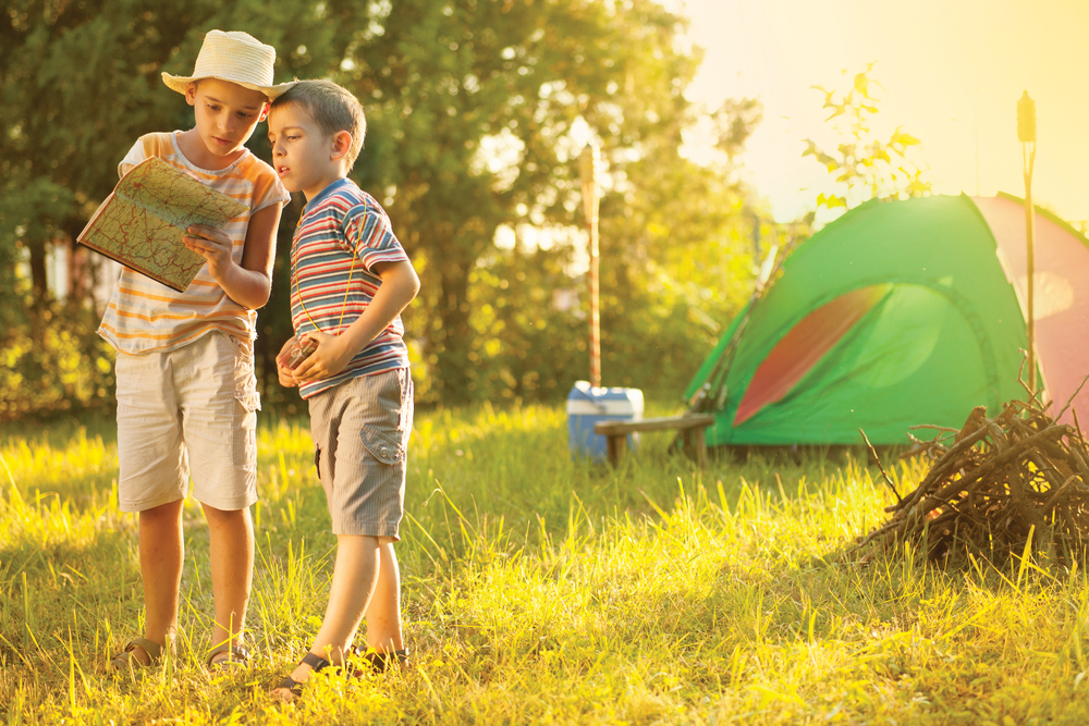 two brothers on a camping trip