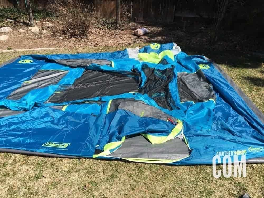 a deflated tent waiting to be erected