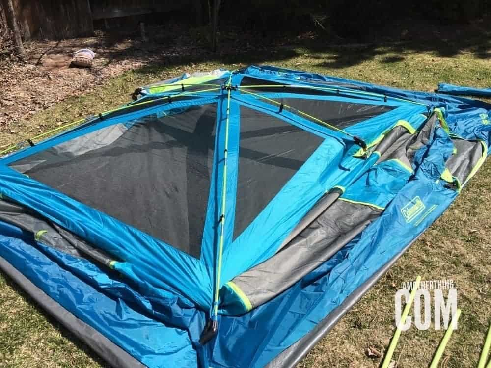 a partially constructed tent