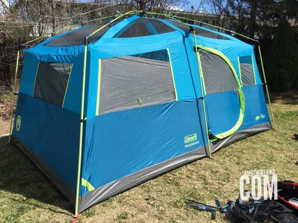 a fully constructed Coleman® Tenaya Lake™ Fast Pitch™ 8-Person Cabin with Closet Tent